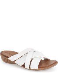 Sandalias planas de cuero blancas de Tamaris