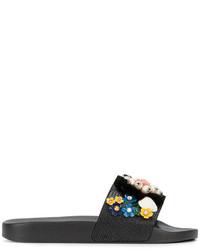 Sandalias planas de cuero con adornos negras de Dolce & Gabbana