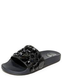 Sandalias planas de cuero con adornos negras de Marc Jacobs