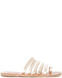 Sandalias planas de cuero doradas de Ancient Greek Sandals