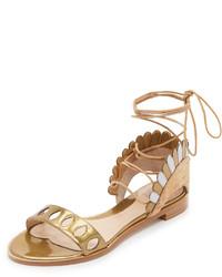 Sandalias planas de cuero doradas de Paula Cademartori