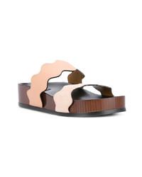 Sandalias planas de cuero en beige de Chloé