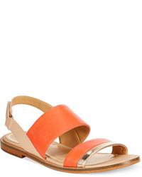 Sandalias planas de cuero naranjas