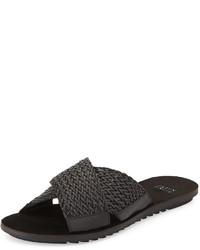 Sandalias planas de cuero negras de Eileen Fisher