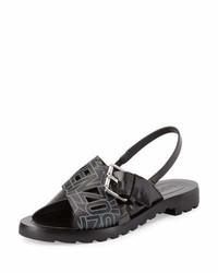 Sandalias planas de cuero negras de Kenzo