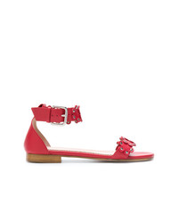 Sandalias planas de cuero rojas de RED Valentino