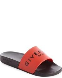 Sandalias planas de goma rojas de Givenchy