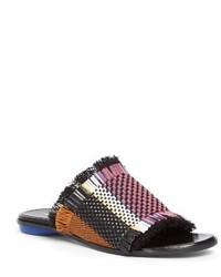 Sandalias planas de lona сon flecos negras de Proenza Schouler