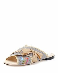 Sandalias planas grises de Fendi