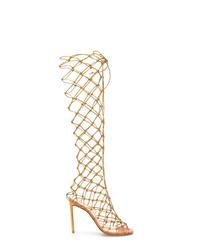 Sandalias romanas altas de cuero doradas de Francesco Russo