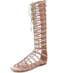Sandalias romanas altas de cuero marrón claro de Joie