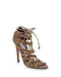 Sandalias romanas de ante marrón claro