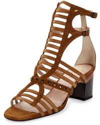 Sandalias romanas de ante marrón claro de Lanvin
