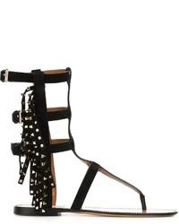 Sandalias romanas de ante negras de Valentino
