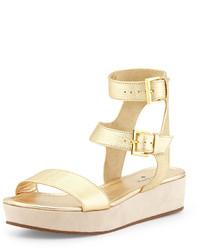 Sandalias romanas de cuero doradas de Kate Spade