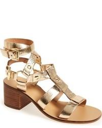 Sandalias romanas de cuero doradas de Topshop