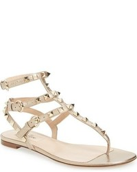 Sandalias romanas de cuero doradas de Valentino