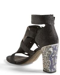Sandalias romanas de cuero en gris oscuro de Rebecca Minkoff