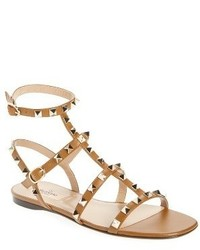 Sandalias romanas de cuero marrón claro de Valentino