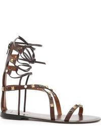 Sandalias romanas de cuero marrónes de Valentino