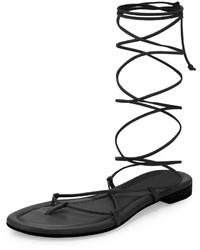 Sandalias romanas de cuero negras de Michael Kors