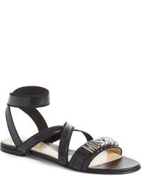 Sandalias romanas de cuero negras de Moschino