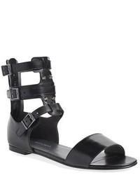 Sandalias romanas de cuero negras de Stuart Weitzman