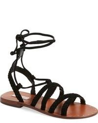 Sandalias romanas de cuero negras de Topshop