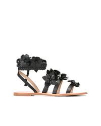 Sandalias romanas de cuero negras de Tory Burch