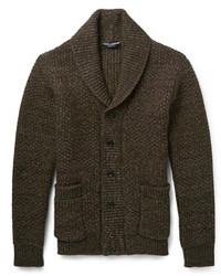 Pair dark grey wool suit pants with a shawl cardigan for a sharp, fashionable look.