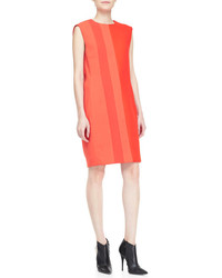 Pair orange leather pumps with a shift dress to achieve a neat and proper look.