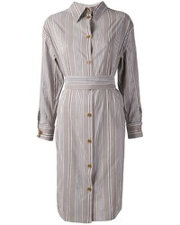 Dress in a grey knit open cardigan and a shirtdress for a casual level of dress.