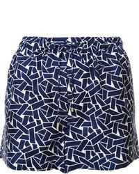 Short en soie géométrique bleu marine Diane von Furstenberg