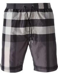 Shorts de baño de tartán en gris oscuro de Burberry