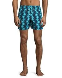 Shorts de baño estampados en verde azulado de Vilebrequin