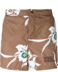 Shorts de baño estampados marrónes de Valentino