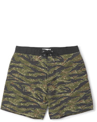 Shorts de baño estampados verde oliva de Saint Laurent