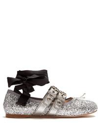 Miu Miu Buckle Fastening Glitter Ballet Flats
