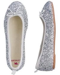 Silver Ballet Flats
