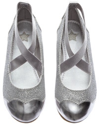 H&M Glittery Ballet Flats Silver Colored Kids