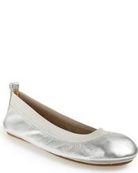 Yosi Samra Toddler Girls Metallic Foldable Ballet Flat