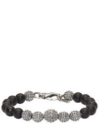 Emanuele Bicocchi Silver And Black Beaded Bracelet