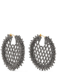 Oscar de la Renta Beaded Earrings Silver