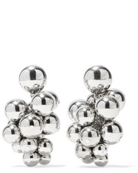 Oscar de la Renta Beaded Silver Tone Clip Earrings