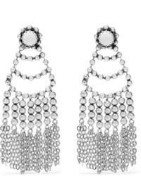 Dannijo Dolci Tasseled Beaded Silver Plated Earrings One Size