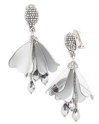 Oscar de la Renta Mini Impatiens Flower Clip Earrings