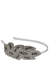 Beaded silver flower headband medium 117614