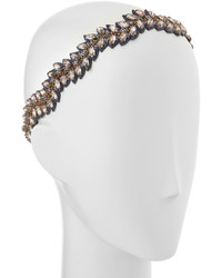 Deepa Gurnani Crystal Leaf Headband Gunmetal