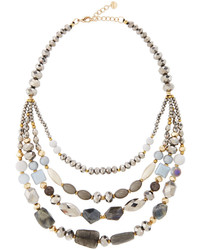 Nakamol Multi Strand Beaded Collar Necklace Silver Mix