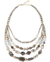 Nakamol Multi Strand Beaded Collar Necklace Silver Mix